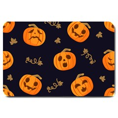 Funny Scary Black Orange Halloween Pumpkins Pattern Large Doormat
