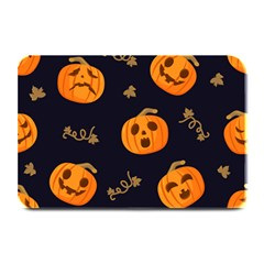 Funny Scary Black Orange Halloween Pumpkins Pattern Plate Mats