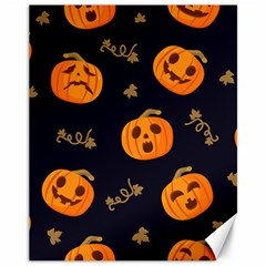 Funny Scary Black Orange Halloween Pumpkins Pattern Canvas 11  X 14