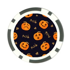 Funny Scary Black Orange Halloween Pumpkins Pattern Poker Chip Card Guard