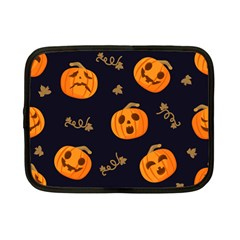 Funny Scary Black Orange Halloween Pumpkins Pattern Netbook Case (small)