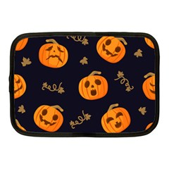 Funny Scary Black Orange Halloween Pumpkins Pattern Netbook Case (medium)