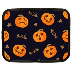 Funny Scary Black Orange Halloween Pumpkins Pattern Netbook Case (large)