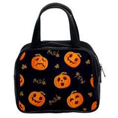 Funny Scary Black Orange Halloween Pumpkins Pattern Classic Handbag (two Sides)