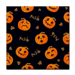 Funny Scary Black Orange Halloween Pumpkins Pattern Face Towel by HalloweenParty