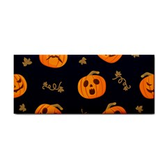 Funny Scary Black Orange Halloween Pumpkins Pattern Hand Towel by HalloweenParty