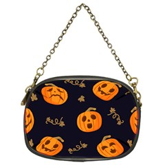 Funny Scary Black Orange Halloween Pumpkins Pattern Chain Purse (one Side)