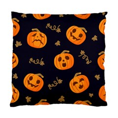 Funny Scary Black Orange Halloween Pumpkins Pattern Standard Cushion Case (two Sides)