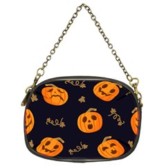 Funny Scary Black Orange Halloween Pumpkins Pattern Chain Purse (two Sides)