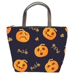 Funny Scary Black Orange Halloween Pumpkins Pattern Bucket Bag