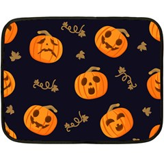 Funny Scary Black Orange Halloween Pumpkins Pattern Fleece Blanket (mini)