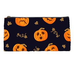 Funny Scary Black Orange Halloween Pumpkins Pattern Pencil Cases