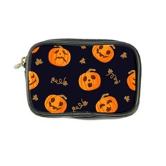 Funny Scary Black Orange Halloween Pumpkins Pattern Coin Purse