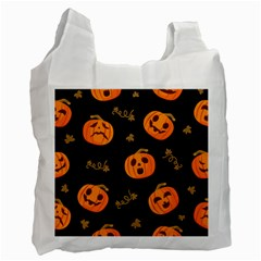 Funny Scary Black Orange Halloween Pumpkins Pattern Recycle Bag (one Side)