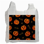 Funny Scary Black Orange Halloween Pumpkins Pattern Recycle Bag (Two Side) Front