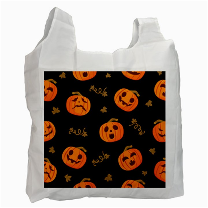 Funny Scary Black Orange Halloween Pumpkins Pattern Recycle Bag (Two Side)