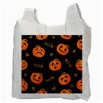 Funny Scary Black Orange Halloween Pumpkins Pattern Recycle Bag (Two Side) Back