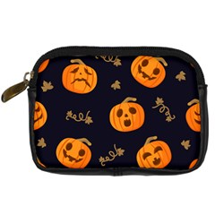 Funny Scary Black Orange Halloween Pumpkins Pattern Digital Camera Leather Case