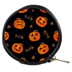 Funny Scary Black Orange Halloween Pumpkins Pattern Mini Makeup Bag