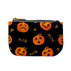 Funny Scary Black Orange Halloween Pumpkins Pattern Mini Coin Purse