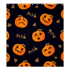 Funny Scary Black Orange Halloween Pumpkins Pattern Shower Curtain 66  X 72  (large)  by HalloweenParty