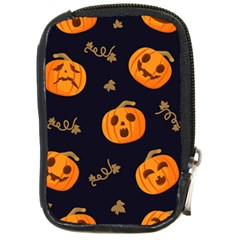 Funny Scary Black Orange Halloween Pumpkins Pattern Compact Camera Leather Case