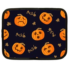 Funny Scary Black Orange Halloween Pumpkins Pattern Netbook Case (xl)