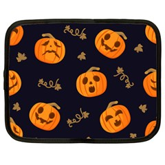 Funny Scary Black Orange Halloween Pumpkins Pattern Netbook Case (xxl) by HalloweenParty