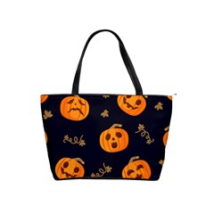 Funny Scary Black Orange Halloween Pumpkins Pattern Classic Shoulder Handbag