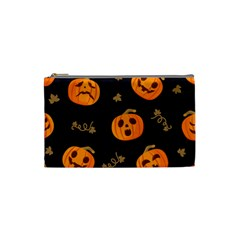 Funny Scary Black Orange Halloween Pumpkins Pattern Cosmetic Bag (small)
