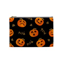 Funny Scary Black Orange Halloween Pumpkins Pattern Cosmetic Bag (medium) by HalloweenParty