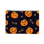 Funny Scary Black Orange Halloween Pumpkins Pattern Cosmetic Bag (Large) Front