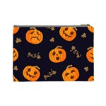 Funny Scary Black Orange Halloween Pumpkins Pattern Cosmetic Bag (Large) Back