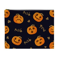 Funny Scary Black Orange Halloween Pumpkins Pattern Cosmetic Bag (xl)