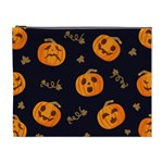 Funny Scary Black Orange Halloween Pumpkins Pattern Cosmetic Bag (XL) Front