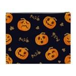 Funny Scary Black Orange Halloween Pumpkins Pattern Cosmetic Bag (XL) Back