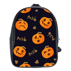 Funny Scary Black Orange Halloween Pumpkins Pattern School Bag (large)
