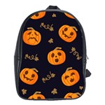 Funny Scary Black Orange Halloween Pumpkins Pattern School Bag (Large) Front