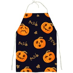 Funny Scary Black Orange Halloween Pumpkins Pattern Full Print Aprons