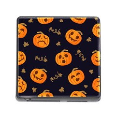 Funny Scary Black Orange Halloween Pumpkins Pattern Memory Card Reader (square 5 Slot)