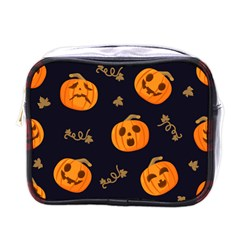 Funny Scary Black Orange Halloween Pumpkins Pattern Mini Toiletries Bag (one Side)