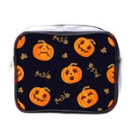 Funny Scary Black Orange Halloween Pumpkins Pattern Mini Toiletries Bag (One Side) Front