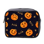 Funny Scary Black Orange Halloween Pumpkins Pattern Mini Toiletries Bag (Two Sides) Front