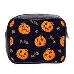 Funny Scary Black Orange Halloween Pumpkins Pattern Mini Toiletries Bag (Two Sides) Back