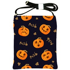 Funny Scary Black Orange Halloween Pumpkins Pattern Shoulder Sling Bag