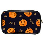 Funny Scary Black Orange Halloween Pumpkins Pattern Toiletries Bag (Two Sides) Front