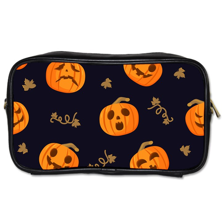 Funny Scary Black Orange Halloween Pumpkins Pattern Toiletries Bag (Two Sides)