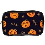 Funny Scary Black Orange Halloween Pumpkins Pattern Toiletries Bag (Two Sides) Back