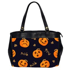 Funny Scary Black Orange Halloween Pumpkins Pattern Oversize Office Handbag (2 Sides)