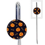 Funny Scary Black Orange Halloween Pumpkins Pattern Book Mark Front